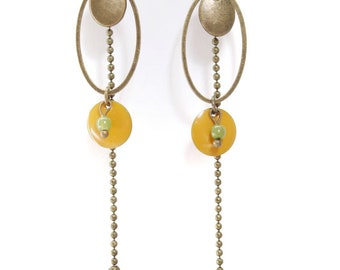 "Earrings ethnic ""Senja"" yellow and khaki with long chain and enamelled sequin."