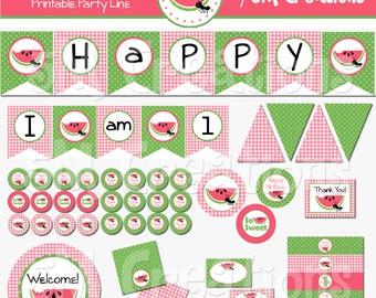 Watermelon Birthday Party Printable Decorations Package - Picnic Party Printables - Watermelon Banner Cupcake Toppers - INSTANT DOWNLOAD Pdf