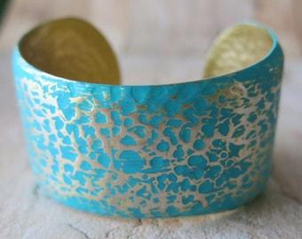 Martelé Bracelet manchette Bracelet Turquoise cadeau pour son Bracelet Vintage