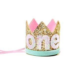 Birthday Crown  | First Birthday Cake Smash Crown | First Birthday Glitter Crown | Birthday Girl Outfit | 1st Birthday Crown | Gold Pink