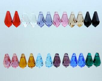 Crystal Tear Drops, Swarovski® 6000 Series 11mm Tear Drop Pendants, EIGHTEEN(18) pcs. Assorted Colors Faceted Tear Drops