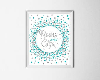 Books and Gifts Sign Printable Girl Baby Shower Sign Gift Table Sign Gifts & Cards Sign Teal And Silver Confetti Party Decorations
