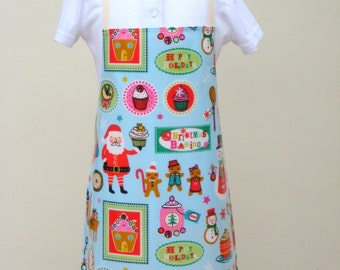 Child Pvc Apron -  Pale Blue Christmas Design, Oilcloth Apron, Waterproof Apron