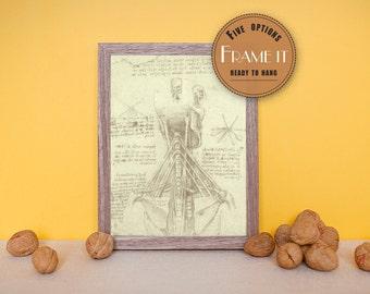 "Vintage illustration by Leonardo da Vinci - framed fine art print, art of anatomy, 8""x10"" ; 11""x14"", FREE SHIPPING - 213"