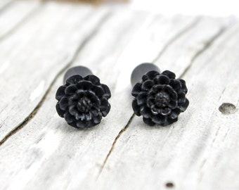 Fake Plugs Post Earrings Black Wood Earrings Spiral Tribal Fake Gauge Earrings - Gauges Plugs Bone Horn - FP001 DW G1