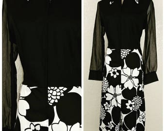 Fantastic Polyester and Chiffon Black and White Floral Dress