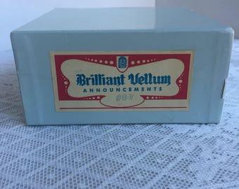 Brilliant Vellum Stationery / Vintage Wedding Thank You Cards and Envelopes / Boxed Stationery Set