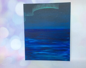Aurora over sea.  Original acrylic painting