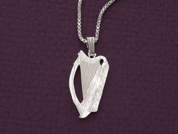 Sterling silver irish harp pendant and necklace hand cut aloadofball Gallery