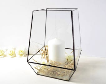 Large Glass Box Without The Lid, Hurricane Glass Candle Holder, Original Wedding Decor, Clear Glass Box,  Modern Glass Garden Party Decor