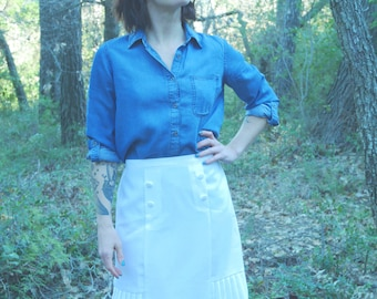 White skirt sewed by hand french Vintage 1950's long pleated high waist
