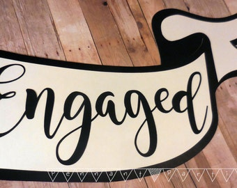 Engagement Photo Banner, Custom Scroll Banner, Personalized Handheld Banner, We're Engaged Photo Shoot, Engagement Party, Engagement Decor