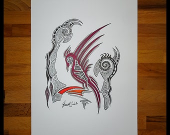 Original Abstract Pen and Ink Drawing on Paper // The Phoenix // House Warming Gift // Ready to Frame Art