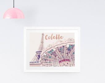 Personalised Paris Print, Personalised Paris Photography Print, Eiffel Tower Photo, Paris Wall Art, Carousel art