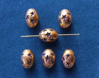 Vintage antique gold plated oval seamless bead with stars, 16mm, Quantity 6, (CC89)