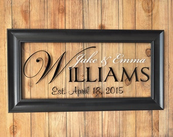 Glass Personalized Family Name Sign Picture Frame Established Family Sign 11x21