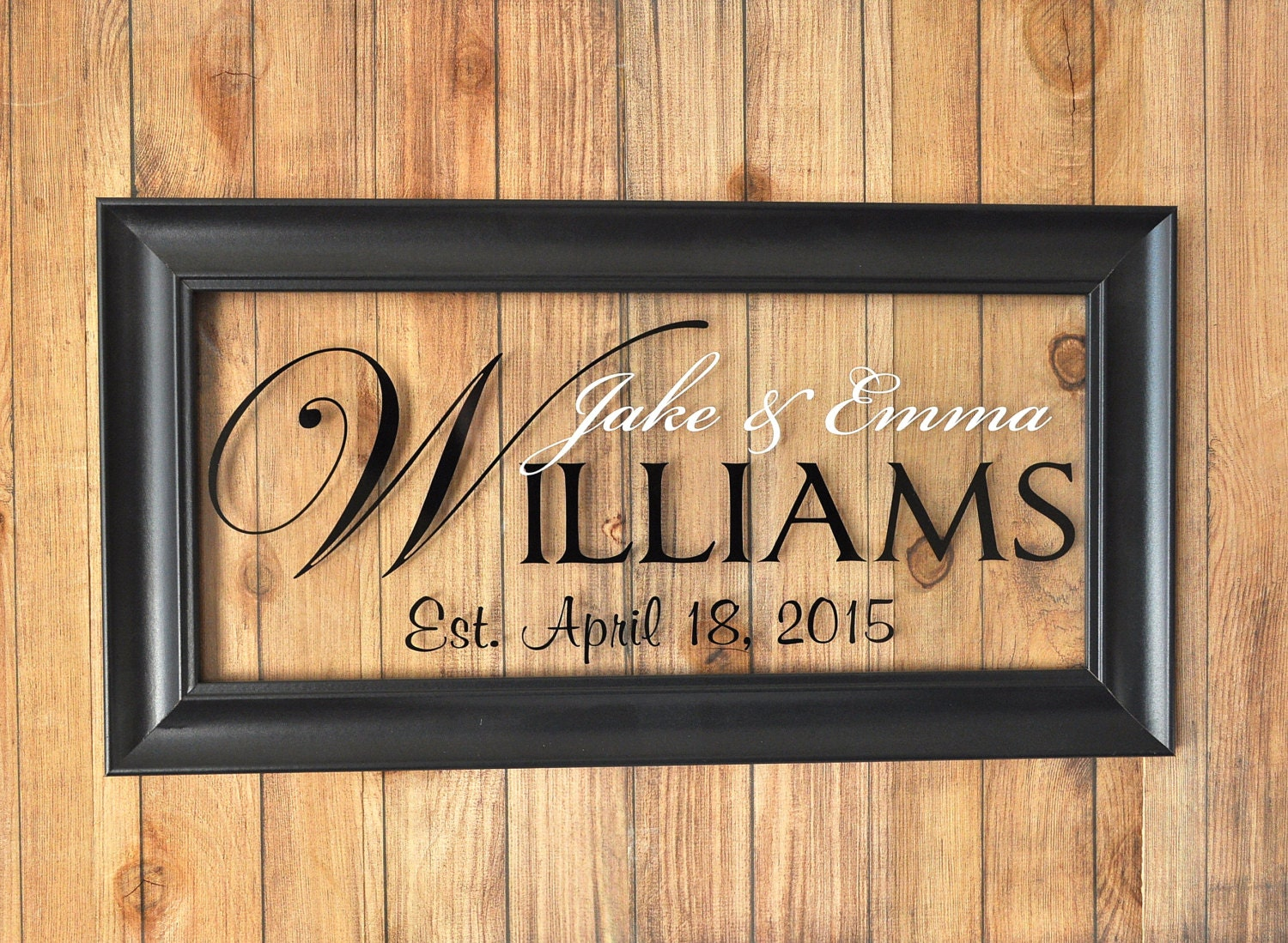 Glass personalized family name sign picture frame established request a custom order and have something made just for you jeuxipadfo Images