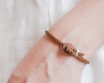 Simple leather wrap bracelet in tan, knot closure, gold or silver accent, minimalist, mens or womens, re-purposed leather, purple gifts