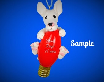 Bull Terrier Dog White OOAK Christmas Light Bulb Ornament Sally's Bits of Clay PERSONALIZED FREE with dog's name