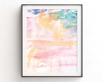 Pink Printable Painting - Soft Digital Print - Abstract Painting - Blush Blue White Orange - Wall Decor - Fine Art