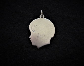 1950s Charm Boy Child Engraved Sterling Silver Head Profile Silhouette JACK