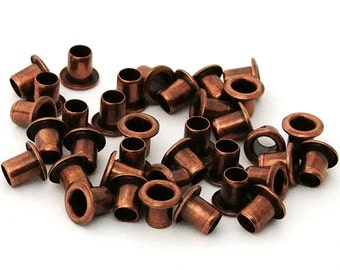 3/16 Inch Diameter Antique Copper Plated Eyelets Package of 36