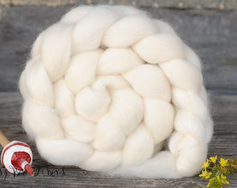 BFL Undyed Blue Face Leicester Natural Ecru White Combed Top Natural Wool Roving Spinning Felting fiber - 4 oz