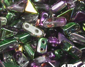 MAGIC ORCHID: 6x6mm Tango Two-Hole Triangle Czech Glass Beads (10 grams)