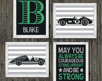 Race car art, race car nursery, race car nursery theme, boys race car nursery, race cars, boys racing bedroom, boys racing, race car posters