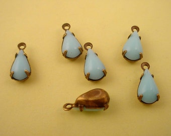 Vintage Light Blue  glass Calcedon Baby Blue Pear Teardrop  antique brass ox prong Charms 10x6 - 6 Pieces