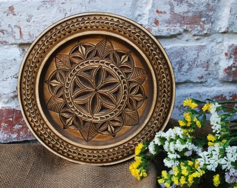 Wooden Decorative Plate Wall Plate Wooden Wall Decor Carved Plate Wooden Plate Hanging Plate Rustic Wooden & Decorative Kitchen Plates u0026 Large Decorative Plates For The Wall