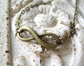 Brass Infinity Charm, Infinity Necklace, Brass Infinity, Brass Infinity Necklace, Infinity Jewelry,  Antiqued Brass Necklace, Brass Necklace