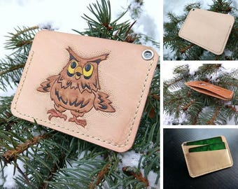 Cardholder cheerful owl, small purse, мinimalist leather cardholder wallet, credit card purse, minimalist wallet,