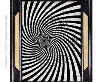OPTICAL ILLUSION art print wall decor poster geometrical swirl twirl black white on upcycled vintage dictionary book page 8x10, 5x7, 4x6