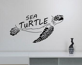 Sea Turtle Wall Art Vinyl Decal Ocean Life Sticker Marine Wildlife Decorations for Home Living Room Bedroom Animal Office Decor trt4