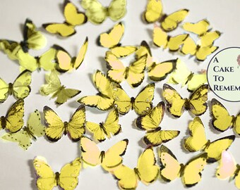 """48 small yellow edible butterflies, 1/2""""- 3/4"""" wide. For cakes or cupcake toppers, cake pops or smash cake topper. Multi colors available."""