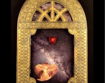 Creator of the Stars of Night, mixed media collage, assemblage art, wall or shelf art, original fine art, spiritual mystical art Foundturtle