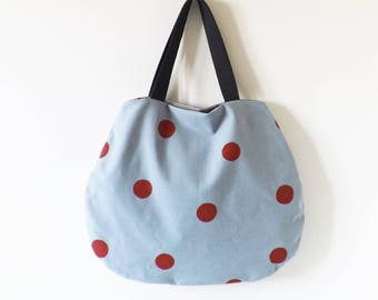 Grey bag with red dots hand painted