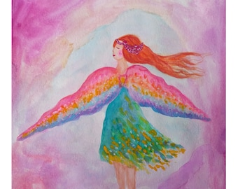 Rainbow Wings. Girl Fairy with Colourful Wings in Pink Cave A3 Art Poster Print.