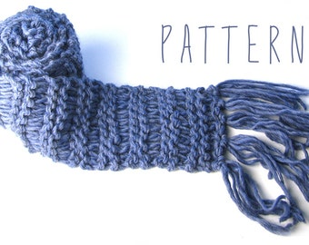 PATTERN - CHUNKY MONKEY Scarf - Extra long, chunky-knit, fringed winter scarf