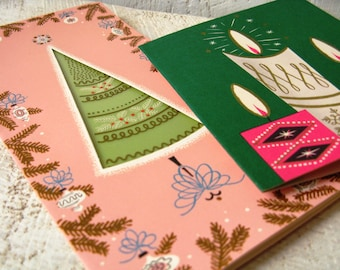 Retro Mid Century Pink & Green Christmas Cards Used 1950s Vintage Ace High Made in the USA