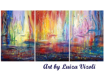 Large Boats Painting 72x36 SAILING into the WIND Sunset Lake Abstract Pollock Inspired Expressionist Drip