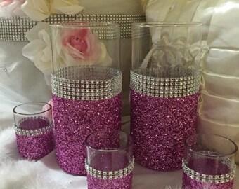 Wedding centerpiece, pink glitter vase, (2) vases and (3) votive holders, bridal bouquet holder, bling wedding, sweet sixteen centerpiece