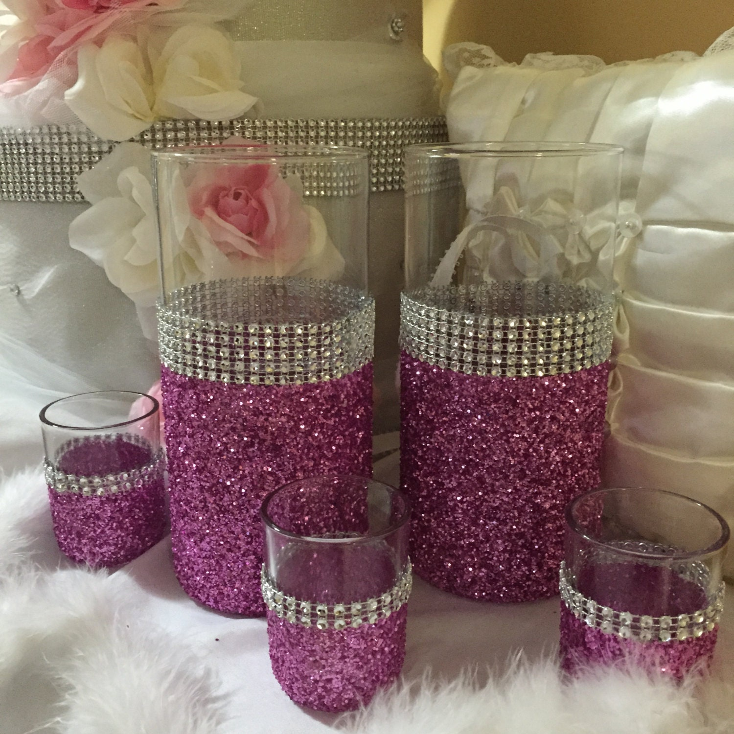 Wedding Centerpiece Pink Glitter Vase 2 Vases And 3