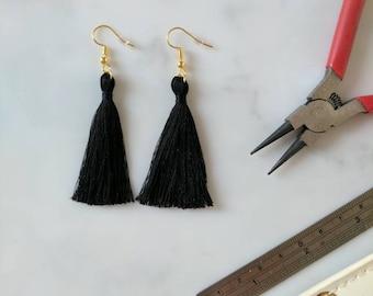Black Tassel Earrings - Silky Black Boho Earrings - Black Tassle Earrings - 5 7cm 2 3in - Gold Silver Bronze Hook - Festival Dangle Earrings