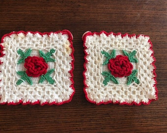 Lot of 2 Vintage Hand Crocheted Pot Holder, Red Flower Trivet, Hot Pads with Loops for Hanging