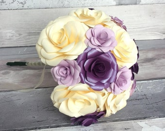Bridal Bouquet Made From Paper Will Lasting for Years to Come, Wedding Keepsake Bouquet, Handmade Flowers in Shimmering Purple, Lilac, Ivory
