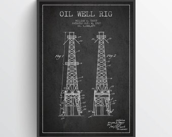 1927 Oil Well Rig Patent Wall Art Poster, Pump Jack  Poster, Oil Drilling Poster, Home Decor, Gift Idea, EN27P