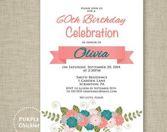 Coral and Teal 60th Birthday Invitation Celebration Invitation High Tea Invite Floral Adult Party Invite Printable JPG File Invite 147