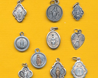 Lot of 10 antique French sterling silver Religious Medal Our Lady - Notre Dame varied charm pendant catholic medal (ref 1447)